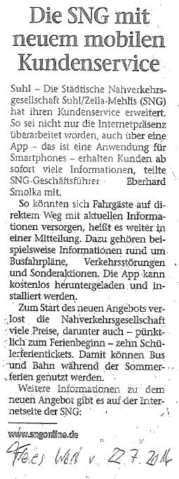 20140722 Presse SNG Freies Wort