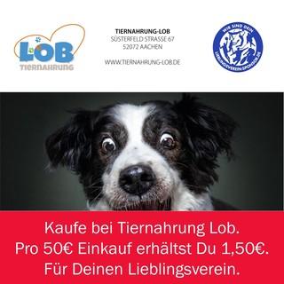 Kaufe bei Tiernahrung Lob - pro 50€ Einkauf geben wir 1,50€ für Deinen Lieblingsverein