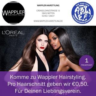 Komme zu Wappler Hairstyling. Pro Haarschnitt geben wir €0,50. Für Deinen Lieblingsverein.