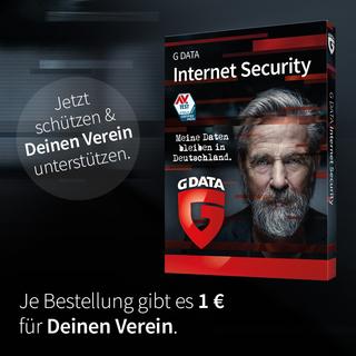 Sicherheit für Dich. 1€ für Deinen Verein. Pro Bestellung bei G DATA.