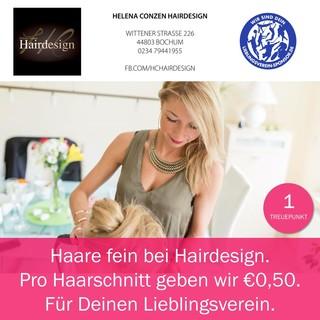 Haare fein bei Hairdesign. Pro Haarschnitt geben wir Dir €0,50. Für Deinen Lieblingsverein.