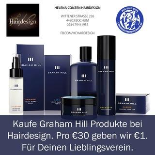 Kaufe Graham Hill Produkte bei Hairdesign. Pro €30 Kauf geben wir Dir €1. Für Deinen Lieblingsverein.