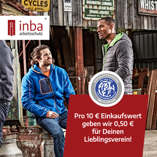 Kaufe bei inba arbeitsschutz. Je 10 € Einkaufswert geben wir Dir 0,50 € für Deinen Lieblingsverein.