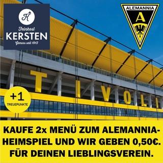 Kaufe 2x Menü zum Alemannia-Heimspiel. Und wir geben 1€. Für Deinen Lieblingsverein.