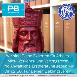Pro Anwaltliche Erstberatung geben wir Dir €2,50. Für Deinen Lieblingsverein.