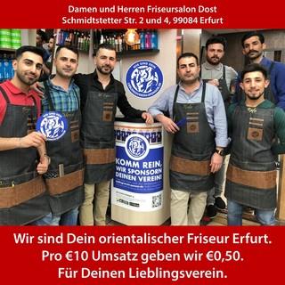 Wir sind Dein orientalischer Friseur in Erfurt. Pro 10€ Umsatz geben wir €0,50. Für Deinen Lieblingsverein.