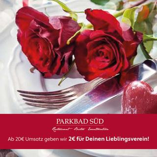 Komm ins Restaurant Parkbad Süd. Ab 20€ Umsatz erhältst DU 2€. Für Deinen Lieblingsverein.
